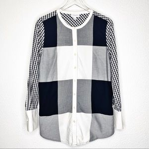 Adam Lippes Color Block Long Sleeve Button Up